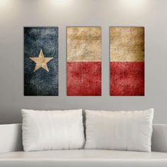 Triptych Vintage Texas Flag, Panel Canvas Art, Vintage Texas, Wall Decor Texas Flag Canvas Art Print, Set of 3 Canvases Etsy.com