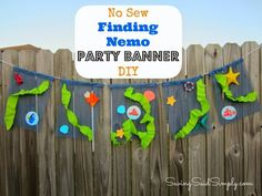 No Sew Finding Nemo Party Banner DIY #DisneySide | An under the sea inspired no sew party banner for your Finding Nemo Party!