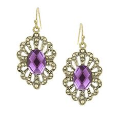 These antique inspired earrings are fit for a queen. A dazzling faceted amethyst jewel sits atop an exquisite frame of burnished gold speckles and scallops.