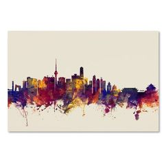 "Mercury Row Beijing China Skyline Graphic Art on Wrapped Canvas Size: 16"" H x 24"" W x 2"" D"