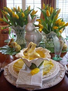 Easter is the time for Bright Yellow Table Decor. Make it Festive, make it Elegant make it Simply Divine!