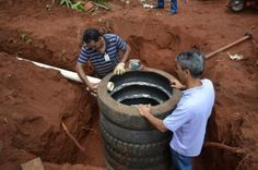 """Sustainable Septic Tank Made with Recycled Tires Homesteading - The Homestead Survival .Com """"Please Share This Pin"""""""