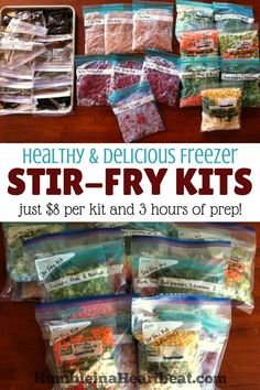 Alternative to crockpot freezer meals. Save time and money by making these freezer stir-fry kits. There's nothing like having a healthy meal just waiting in the freezer on an insanely busy day! Make Ahead Freezer Meals, Crock Pot Freezer, Quick Meals, Freezer Recipes, Vegetarian Freezer Meals, Budget Freezer Meals, Healthy Meals, Individual Freezer Meals, Chicken Freezer Meals