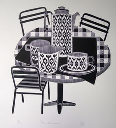 Work by Jan Brewerton titled 'The Heirloom' Black And White Prints, White Art, Drawing Borders, Lino Art, Ap Drawing, Simple Line Drawings, Kitchen Prints, Painting For Kids, Cool Artwork