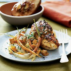 Roast Dijon Chicken and Vegetables: Cover chicken with a Dijon rub before roasting with vegetables for the best flavor. | Health.com