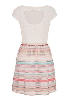 chevron stripe lace top dress with peek-a-boo back - maurices.com