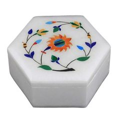 Amazon.com: Marble Stoneware Box with Lid Inlay Flower Arrangements Handmade by Artisan: Home & Kitchen