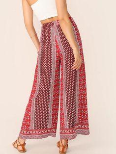 Women Cut-And-Sew Ditsy Floral Wide Leg Tribal Pants - Kiddenmart