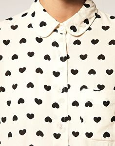 ASOS Heart Print Peter Pan Collar Shirt