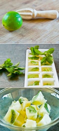Mint & Lime Juice Cubes: perfect for summer drinks Healthy Drinks, Healthy Eating, Healthy Recipes, Free Recipes, Clean Eating, Water Recipes, Lemon Recipes, Tasty, Yummy Food