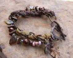 Sari Silk Ribbon Beaded Leaves and Glass Bracelet