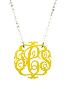 Acrylic Script Monogram. Personalized necklace, tons of colors. Very cool.