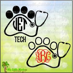 Paw Print Stethoscope Design Monogram Frame Bases Digital Clipart Instant Download Full Color Jpeg, Png, SVG, DXF EPS Files - pinned by pin4etsy.com