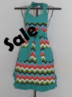 Reversible Apron in Floral and Chevron Prints - pinned by pin4etsy.com