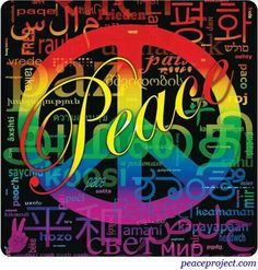 """Peace"" Peace Sign on Typography Background #cMulti"