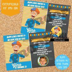 Blippi Birthday Invitation/ Blippi with Picture Birthday