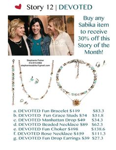 Sabika Jewelry's August Stories of the Month are 30% off!  Contact me at: 412-915-5982 or stephaniesabika@gmail.com to place an order!