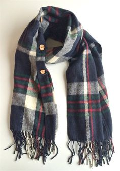 Plaid Button Blanket Scarf/Shawl - 4 Color Options