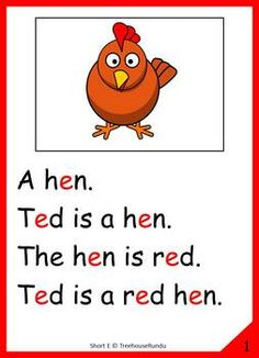 Short E Vowel Reader & Worksheet & Flashcards: Ted the Hen Reading Comprehension Worksheets, Phonics Reading, Teaching Phonics, Reading Passages, Kids Reading, Jolly Phonics, Learning English For Kids, English Lessons For Kids, English Worksheets For Kids