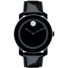 Movado Women's Swiss Bold Black Leather Strap Watch 42mm 3600345 ($450) ❤ liked on Polyvore featuring jewelry, watches, black, kohl jewelry, black watches, black jewelry, movado and black wrist watch