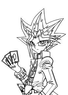 Yu Gi Oh manga coloring pages for kids, printable free