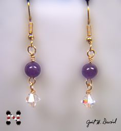 14 kt gold  earrings with amethyst stone beads and Crystal AB Swarovski bi-cones done on commission for a Valentine's Day gift.