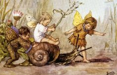 Fairies & elves  beautiful picture. Inspiration for a fairy scene or print and frame for a nursery.