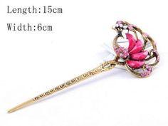 New Girl Women Fashion Pink Rhinestone Peacock Ladies Hair Stick Hairpin 79 #Unbranded
