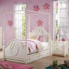 Dorothy Wood Canopy Youth Bed w/Trundle, Twin Size Full Size Canopy Bed, Full Bed, Twin Trundle Bed, Kids Bedroom Sets, Kids Rooms, Bed Dimensions, Bed With Drawers, Acme Furniture, Panel Bed