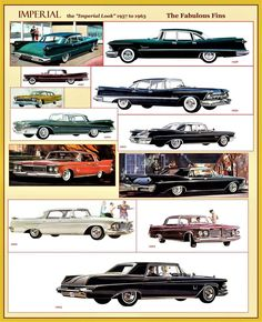 1957 to 1963 Imperials Vintage Cars, Antique Cars, Chrysler Imperial, Vintage Advertisements, Ads, Truck Design, Car Advertising, Us Cars, Amazing Cars