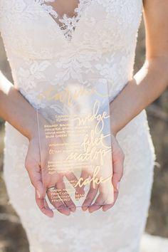 photo: Carlie Statsky; unique wedding reception menu card;