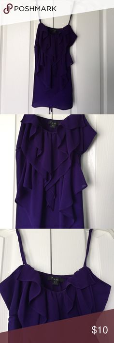 XXI  purple camisole XXI  purple camisole. Ruffles at neckline.  The fourth picture is the one that shows the true color. EUC XXI Tops Camisoles