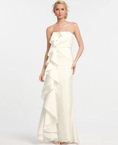Silk Dupioni Cascade Ruffle Wedding Dress - Lyst