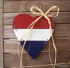 Painted Wooden Heart with Bow  Primitive by PrimitiveWoodworks, $20.00