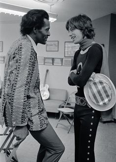 Chuck Berry & Mick Jagger backstage at Altamont, 1969