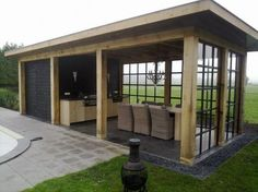 Overkapping met schuurtje en buitenkeuken Canopy with shed and outdoor kitchen Pergola Patio, Backyard Patio, Pergola Kits, Backyard Ideas, Cheap Pergola, Garden Ideas, Outdoor Rooms, Outdoor Living, Outdoor Decor