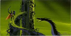 Eyvind Earle Sleeping Beauty Concept Art ~ Philip fights Maleficent the Dragon