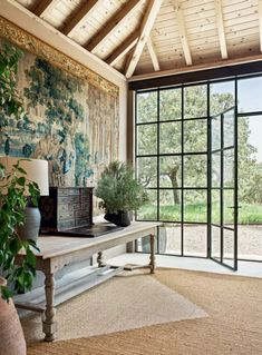 Belen Domecq's Toledo country house   House & Garden Architectural Digest, Cement Design, Summer Bulbs, Casa Patio, Reclaimed Doors, French Table, Decoration, French Antiques, Countryside