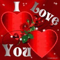 I love you con rosas y corazones gif