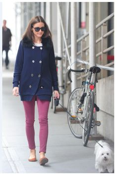 Olivia Palermo takes Mr. Butler for a walk in New York.