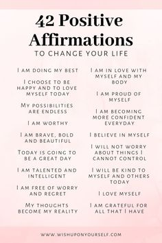 42 Affirmations To Change Your Life - Self Love Circle