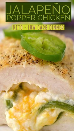 This jalapeno popper chicken keto recipe is Keto comfort food at its finest! Isn't Keto the best? Comfort food while staying on Ketosis! The best. Ketogenic Recipes, Diet Recipes, Healthy Recipes, Lunch Recipes, Ketogenic Diet, Zuchinni Recipes, Low Carb Chicken Recipes, Low Carb Appetizers, Appetizer Recipes