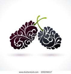 Decorative ornamental Black mulberry isolated on white. Vector berry logo design element for packaging design, banner, poster, business sign, identity, branding