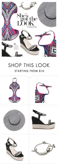 """Swimming in Style: Tribal Pint"" by eclectic-chic ❤ liked on Polyvore featuring Mor, platforms, tribalprint, onepiece, cutoutswimsuit and yoins"