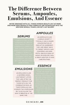 Serums, Ampoules, Emulsions and Essences — Here Are the Differences Between These K-Beauty Skin-Care Formulas Do you know the difference between all staple K-Beauty products? Between serums, ampoules, emulsions and essence- it can be. Skin Care Regimen, Skin Care Tips, Skin Tips, Oily Skin, Sensitive Skin, Glow Skin, Skin Care Routine For 20s, Face Routine, Belleza Natural
