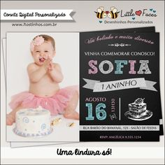 Convite Primeiro Aninho Digital com Foto