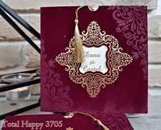 Invitatii nunta Total Happy :: CATALOG SEDEF :: Invitatie nunta cod 3705 grena, visiniu din catifea - Eventisimo
