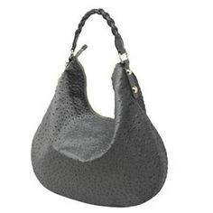 Hot Sale Mulberry Hobo Ostrich Dark Grey Leather Bag