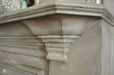 chalk painted fireplace mantel, chalk paint, fireplaces mantels, home decor, painting, ASCP Country Grey Old White French LInen with Dust of Ages and waxes