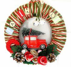 Fa La La Yarn Wreath by KnockKnocking on Etsy